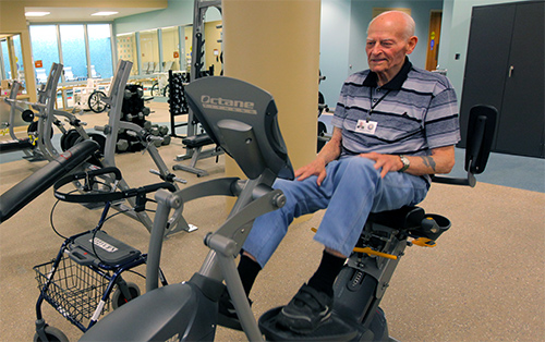 AFRH resident working out in on-campus gym