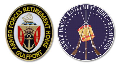 AFRH Community Seals for Gulfport (left) and Washington, DC (right).